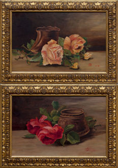 Unknown artist (20th century) Pair of painting depicting cut roses