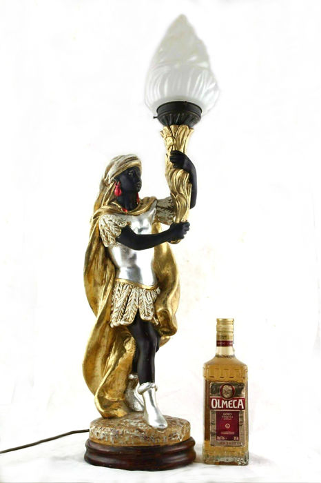 A large blackamoor table light, 20th century