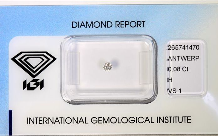 Natural brilliant cut diamond, 0.08 ct, round – H – VS1 – IGI.