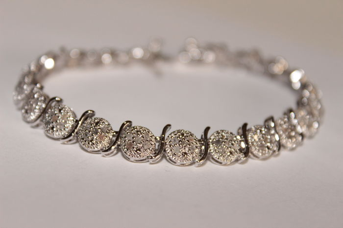 Silver bracelet with Diamonds of 0.80 ct - Length: 18 cm