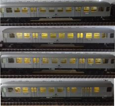 Märklin H0 - 4082/4083/4077 - 4 Silberling carriages, 1 x passenger carriage 1st/2nd class , 2 x passenger carriages 2nd class,1 x control carriage, all have stabilised LED interior and end signal lighting (53)