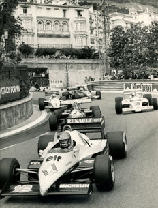 2 x B & W period Photographs Monaco Grand prix  83 patresse winner lapping   88 Nannini  Michael Hewett Photographer