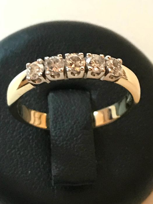 Ring - 0.40 ct 5 Diamonds - Diamonde - White/Yellow Gold - Size: approx. 51.5 (16.5)