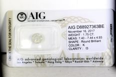AIG diamond - 1.75 ct - K, I3 - * NO RESERVE PRICE *