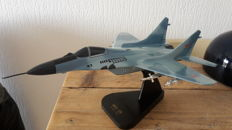 Handmade model MIG-29 fighter jet with armament from Russia.