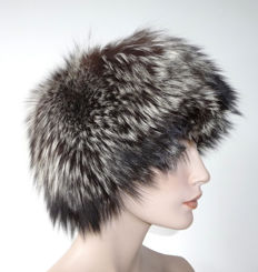 Luxurious, rare silver fox fur hat, fur hat, hat, cap, genuine fur, fox