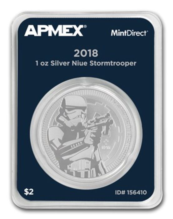 "Niue: 2 dollars 2018 2018 ""Star Wars - Stormtrooper"" 1 oz of silver in MintDirect Single quality"