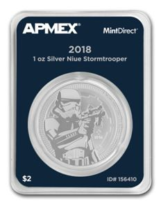 "Niue: 2 dollars 2018 ""Star Wars - Stormtrooper"" - 1 oz of silver in MintDirect Single packaging"