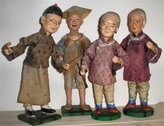Set of 4 Papier Mache Dolls on Stands - China - Early 20th Century