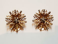 Earrings - 18 kt Rose Gold - Brilliant-cut diamonds in flower shape - Total: 1 ct - Weight: 18.3 g