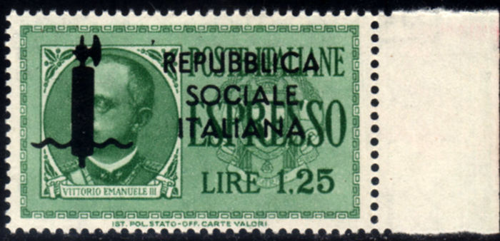 Italy, 1944 – Italian Social Republic, express, colour error – Sass. No. 21A.