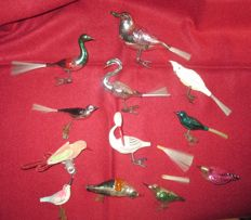 Lot of 12 old special Christmas baubles/birds/11 x blown glass birds and 1 bird of fabric