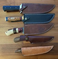Collection of 5 original Damascus Steel hunting knives with cow leather sheath