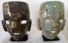 2 Mexican masks of various types of natural stone
