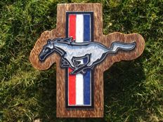 Ford Mustang  - Large unique handmade sculpting logo made of wood - 48 x 48 cm