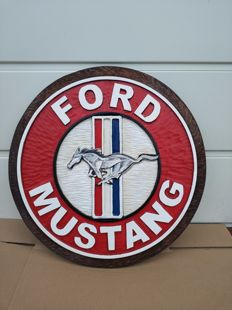 FORD MUSTANG - Unique Big size  logo carved in wood - 54 cm