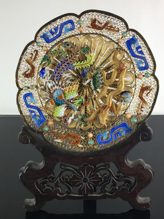 Chinese enamel silver filigree plate - China - second half 20th century