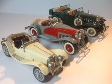 Franklin Mint - Scale 1/24 -  Lot of 3 models: Jaguar, Cadillac and Duesenberg