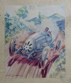 Set of 2 Delage and Hotchkiss posters by Geo Ham - 1958