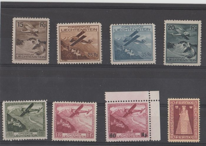 Liechtenstein, 1930–1941, Aeroplanes in Flight over Landscapes and Madonna di Dux, Michel no. 106–113, no.  148 and 197 MNH **