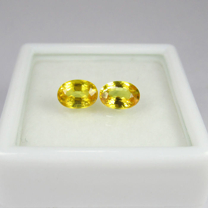 Yellow Sapphire Pair - 1.31 Ct  total - No reserve price