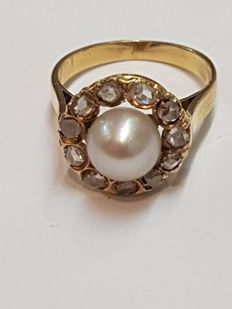 Cocktail ring - Gold - Pearl - Diamonds