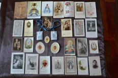 Lot of 420 pious images, scapular, Agnus Dei, special, school stars, Saints, icons, and a classification by theme - Circa 1900 and after