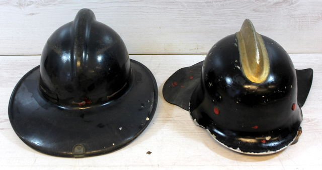 Two original firemen's helmets