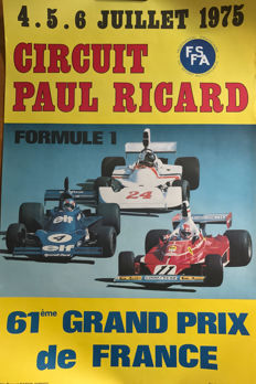 1975 French  Grand Prix original poster Lauda Hunt