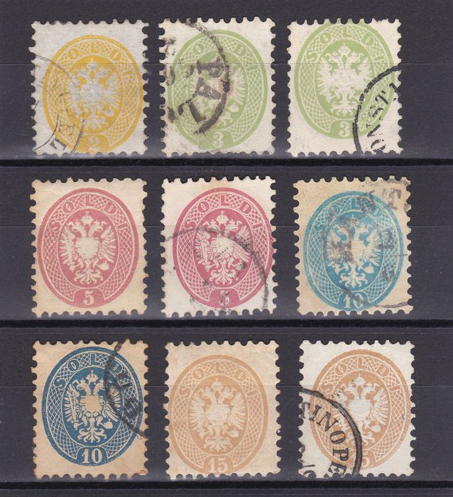 Lombardy-Venetia 1864/1865 - complete series with perforation  9½ - Sass.  No.  41/45