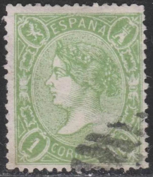 Spain 1865 - Isabel II -  1 Real - Green -  CMF report - Edifil 78