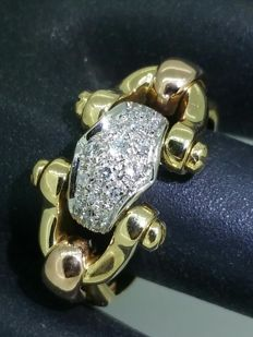 Three-Gold Ring with Diamonds of 0.30 ct.