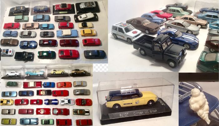 Various - Scale 1/43 - Lot with 58 mostly Europese 1950s-1970s models: Edsel, Ford, Cadillac, Ferrari, Jaguar, Lancia, Pontiac, Citroen & Bentley
