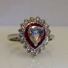 18ct white gold ruby and diamond art deco style pear shaped ring