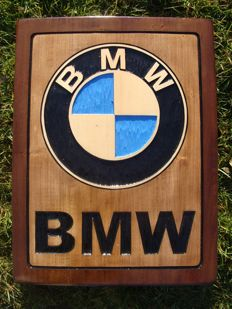 BMW Large unique handmade sculpting logo made from wood - 44 cm x 58 cm