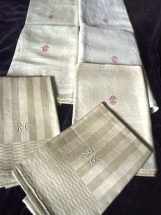 Seven antique hand towels made of heavy hand-woven REAL linen from ca. 1900 with a monogram