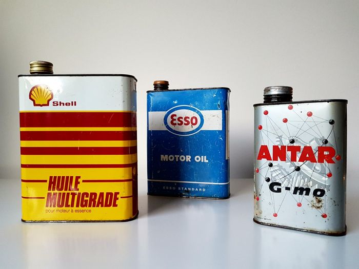 3 vintage oil cans: Shell, Esso, Antar