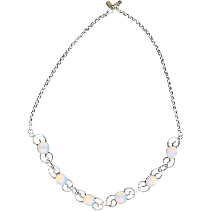 Silver fantasy link necklace set with opal.