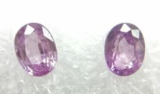 Couple of 2 Sapphire Pink - Purplish Pink  2.20 ct  - No Reserve Price