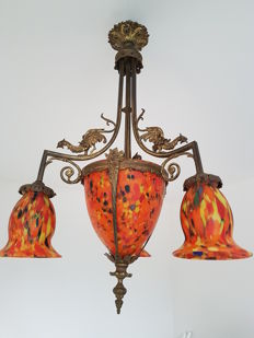Chandelier made of bronze with dragon decor and pâte de verre, early 20th century
