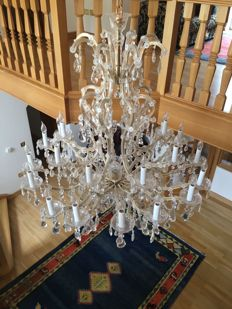 Large Glass crystal chandelier manufactured by Bakalowits, Austria, circa 1980