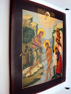 Russian icon - Baptism (34x28 cm) - Russia, early 1900s