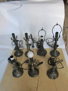 Seven Tiffany lamps supports in brass-type material - Italy