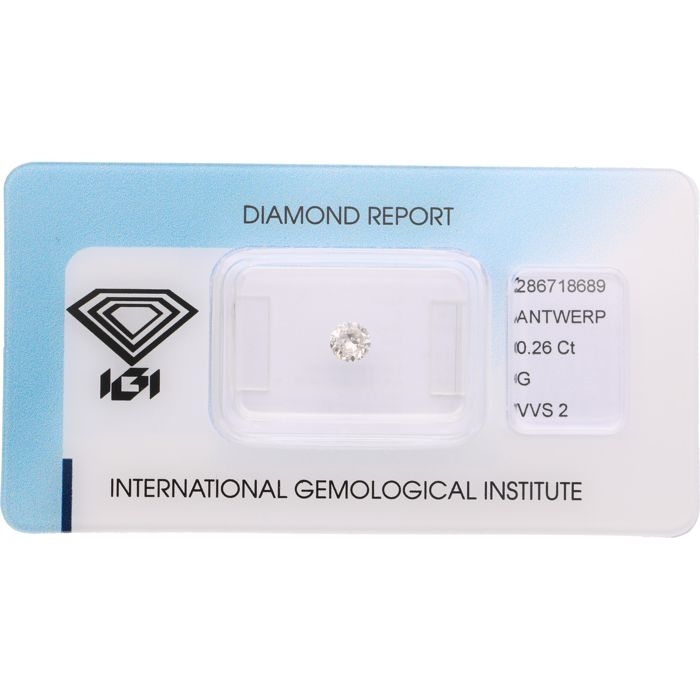 0.26 ct brilliant cut diamond, G VVS2