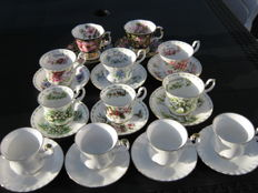 Royal Albert, 12 cups and saucers, mixed lot