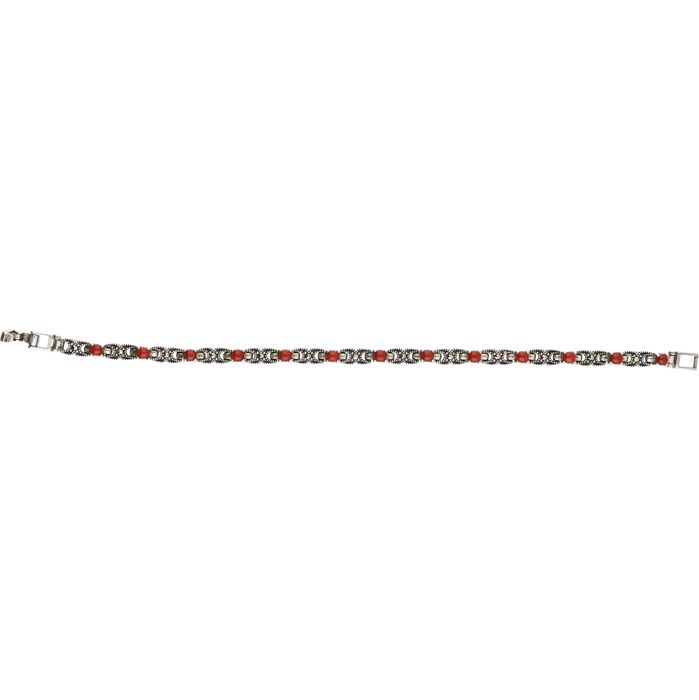 925/1000 Silver bracelet set with red ornamental stones. – Length x width: 18.5 x 0.3 cm