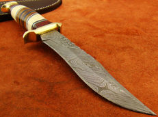 Damascus Steel Handmade Hunting Knife- 29.5 CM Jungle Ranger Hunter - 374 Damascus Steel Layers- Hand Stitched Leather Sheath
