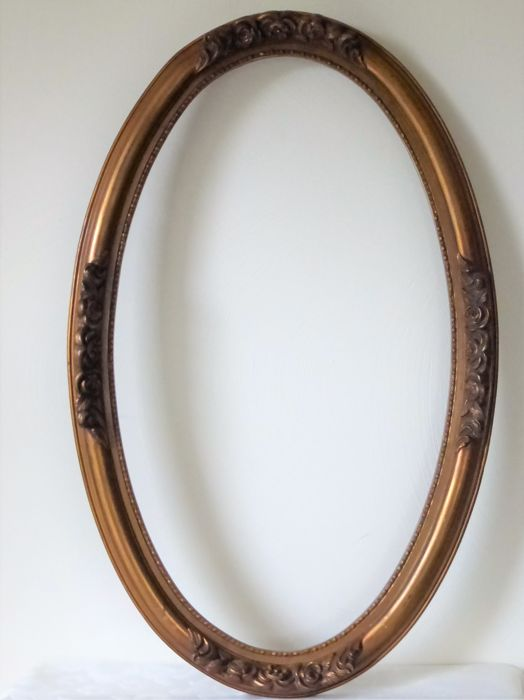 Large 80 X 50 Cm Antique Wooden Gold Plated Oval Frame