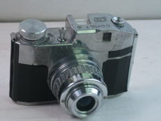 CMF BENCINI COMET S, 4x4cm on 127 film, viewfinder cast aluminum camera, made in Italy, ca. 1951