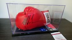Original Everlast boxing glove signed by Iron Mike Tyson with JSA Certificate of Authenticity.